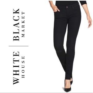 White House Black Market Black Distressed Jeans 0